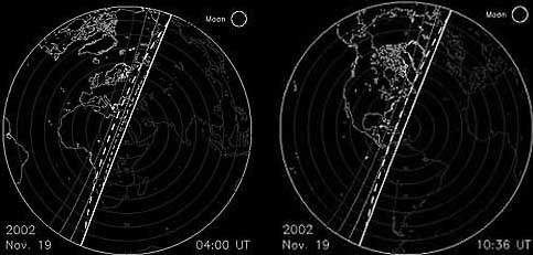 Earth from the perspective of the meteor shower at the peak of both 2002 storms