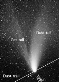 comet dust trail and tail
